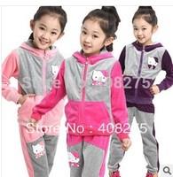 New 2014 Spring Long Sleeve Child clothing sets Girls 2 pcs set (children hoodies sweater+long trousers) Children outerwear Cat
