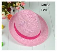 Wholesale Cheap Fashion NEW Solid Colors Unsiex Straw Fedora Men Straw Caps Women Fedoras Straw Summer Hat Beach Hats Headwear
