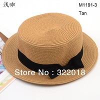 Wholesale Special Fashion NEW Bowknot Flat Brim Cloche  Ladies Hat Women Straw Summer Hats Fedora Straw Cap Beach Caps Headwear