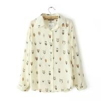 new fashion cartoon cute Owl pattern print women's shirt blouse turn down collar female long-sleeve chiffon shirt casual top