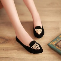 Hot sale 2014 New arrive sweet Tiger head women Flats fashion Candy colors Simple casual shoes plus size 34-43