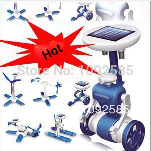2014 global hot sell updated solar-powered robot six in one kids splicing toys(China (Mainland))