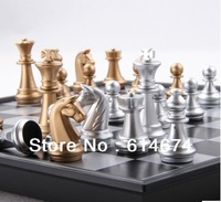 Gold / Silver colour 25*25*2cm checkers& chess with Magnetic chessers backgammon game sets high quality -only 1 $ shipping fee