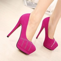 New Arrival Fashion Suede Rhinestone Red Bottom High Heel Shoes,Thin High Heel Pumps For Women X221