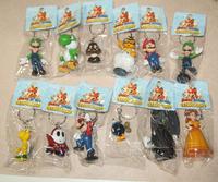 High Quality PVC Super Mario keychain Bros Luigi Action Figures 12pcs/set youshi mario Gift OPP retail