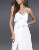 2013 star style white single oblique chiffon sexy ktv design long evening dress e1648