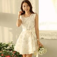 New 2014 Women Summer Dresses Casual Elegant Lace Organza Princess Dress Flora Print Fashion Girl One-piece Dresses With Belt
