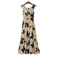 2014 Spring and summer fashion ultra long dress rayon butterfly print vest one-piece dress tanks dress 2 colors