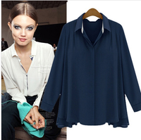 2014 spring summer brand new fashion chiffon blouses shirts women long sleeve casual tops blue white plus size  free shipping