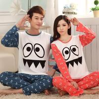 New 2014 spring and autumn sleepwear women long-sleeve 100% cotton male casual loungewear lovers pajama set women FREE SHIPPING