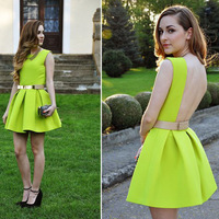 2014 Spring/Fall New Vintage Style Women's Fashion Neon Green Sleeveless Ruffle Backless Dress