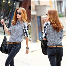 2013 new autumn women's asymmetrical long-sleeve plaid shirt female patchwork cotton blouse shirts free shippingCS4026(China (Mainland))