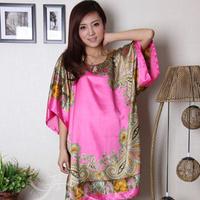 2014 summer fashion royal wind plus size XXXXXL bust 150 cm female silk sleepwear princess nightgown home casual