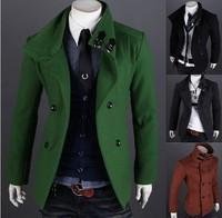 British style mens trech coat jacket double-breasted woolen coat autumn warm thicken overcoat men's Windcoat male wool outerwear
