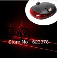 Free shipping 1 set Bicycle light laser taillight mountain bike safety warning light bike riding flashlight