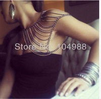 FREE SHIPPING 2014 STYLE BIKINI BY-57 FASHION WOMEN GOLD AND GRAY PLATED MIX COLOR SINGLE SHOULDER BODY CHAIN JEWELRY