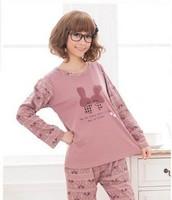 free shipping new 2014 female Sleepwear spring and autumn sleepwear women long-sleeve pure cotton cartoon loungewear set girls