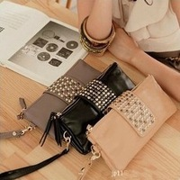 hot selling pu leather fashion brand  rivet women wallet genuine leather lady purse clutch handbags