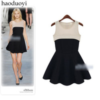 2014 Free Shipping  fashion star style patchwork champagne color fish tail slim tank dress women skirt