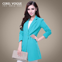 Carrel spring and autumn women's classic fashion OL outfit candy color long trench female design