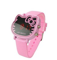 New Arrive 2014 Cute Pink Hello kitty Led Digital Wrist Watch For Women Girls Fashion Hours Best Gift 5 Colors