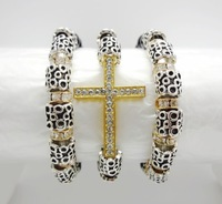 CRYSTAL GOLD CROSS MULTI STRETCH CHARM 8MM STONE BEADS AND ALLOY BEADS BRACELET