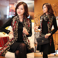 Details about Hot Women Modern Long Wrap Scarf Lady Shawl Gauze Stole Heart Pattern Leopard