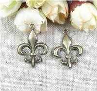 20*28MM ZAKKA DIY jewelry accessories wholesale fleur de lis charms lot, antique bronze zinc alloy charm, vintage metal pendants