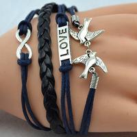Infinity love bracelet - two birds bracelet,antique silver,mint white bracelet for girls,vintage style