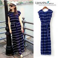 2014 Fashion Navy Blue Color Block Stripe Chiffon Pleated Elastic Waist Belt Long Design O-neck Short sleeve One-piece Dress