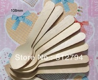 Free shipping small wooden baby spoon 108mm, cute ice cream spoons,wholesale 500pcs/lot