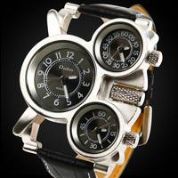2014 New Military Sports 3 Time Zone Japan Movt Man Quartz Wristwatch Leather Strap Steel Case Male Dress Watch 3 Colors #L05519