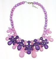 новой европейской и американской моды sk Весенние цветы других роскошных сапфировое ожерелье multi граненый кристалл старинный кулон