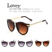 Lovey new fashion trendy retro round sunglasses woman metal arrow vintage star style lady eyewear gold floral multi color