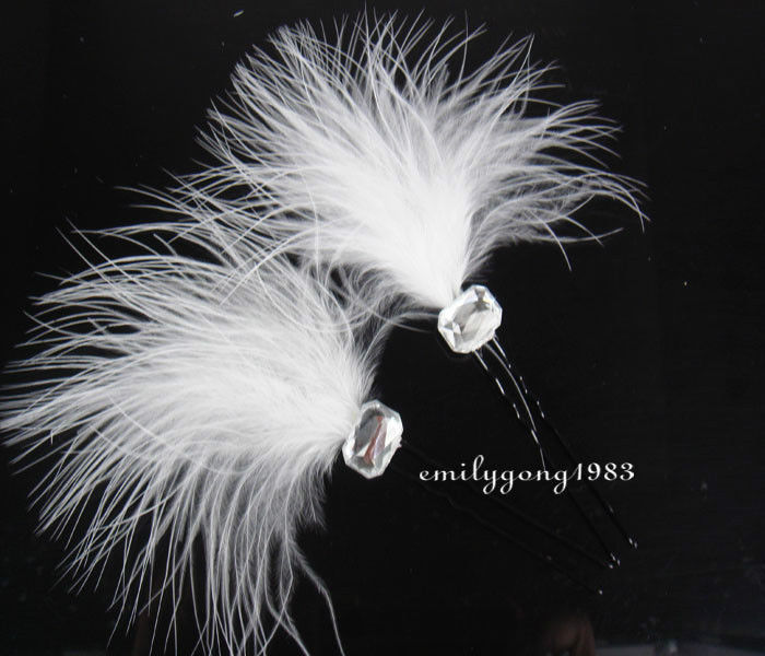 20Pcs Wedding Bridal Beautiful White Feathers Hair Pin Hair Accessory A-13(China (Mainland))