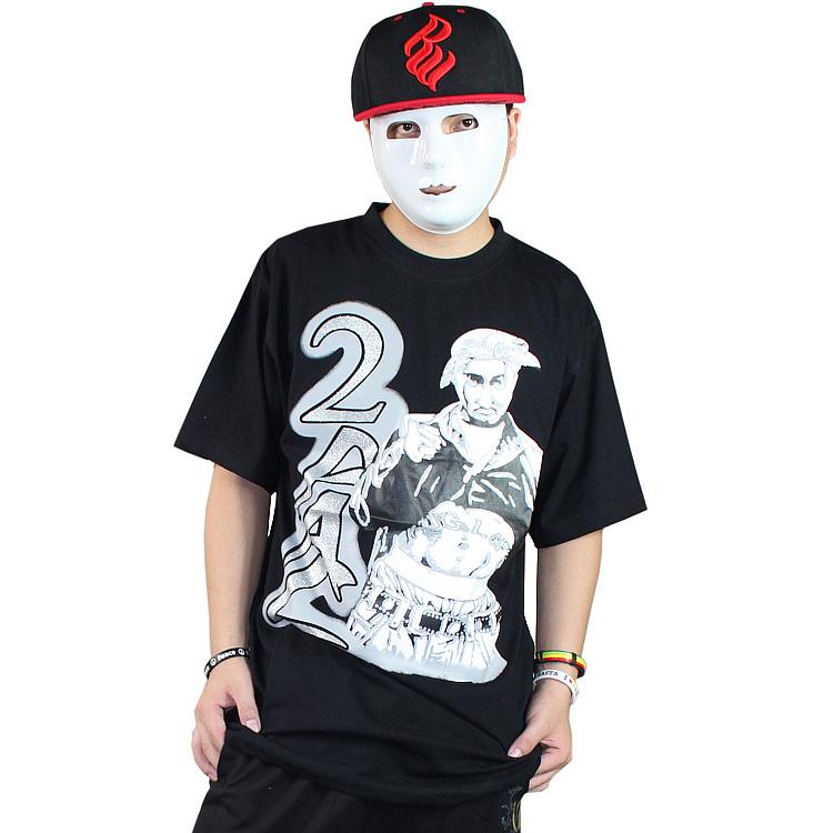summer men's clothing hiphop hip-hop hiphop street 2pac o-neck loose knitted T-shirt short-sleeve shirt 2pac tupac t shirt(China (Mainland))