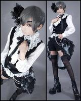 Cos Anime Black Butler Kuroshitsuji Ciel Phantomhive Circus Party Dress Cosplay Costume Customized