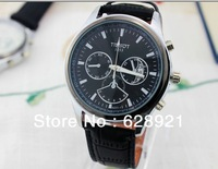 2014 new casual male table calendar business belt quartz watches men's watch brand design Free Shipping
