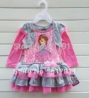 Retail 1pc New 2014 spring girl clothing girls Lace dress baby princess dress party dresses girls tutu dress Sofia Long Sleeve