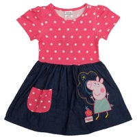 new 2014 nove kids wear peppa pig baby girls printed wave point cotton evening party dress for baby girls H4725#