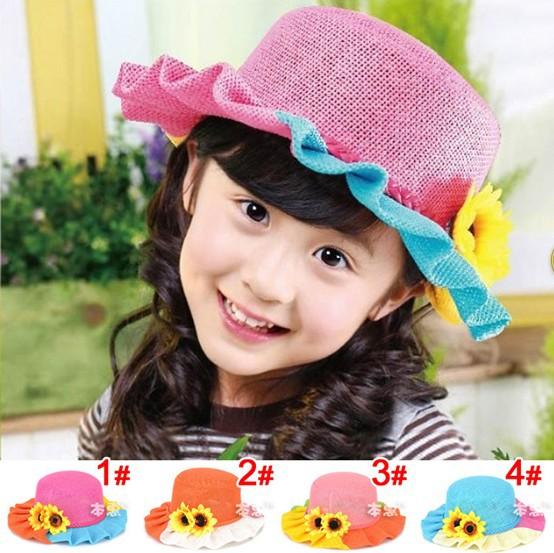 2015 Children Sun Hats Girls Sunflower Flower Falbala Sun Caps Straw hat Kids Accessories Free Shipping 5 PCS(China (Mainland))