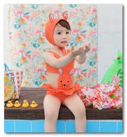 Cute Rabbit girls swimsuits baby bikini swimwear Swim Cap+girls swimsuit 2pcs sets swim pool swimsuits in stock 7005-2