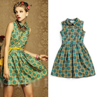 2014 New Fashion Womens Summer Green Print Sleeveless Dress Chiffon Vintage Peter pan Collar Dresses For women Ladies