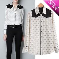 Free shipping/Women's Fashion/Women Little Horse Printed Chiffon Shirts, Lady Casual Blouse/Wholesale+Retail