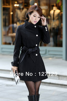 2014 new fashion  Jacket Women's Wool Coats Winter Warm Single-breasted Slim Outerwear S/M/L/XL Drop Shipping