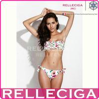 RELLECIGA 2014 Milk White Floral Ruffle Bandeau Bikini Set Swimwear of Italian Lycra Fabric with Seamless Bottom Women Swimsuit