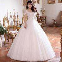 2014 spring new arrival love slit neckline puff sleeve royal princess wedding dress