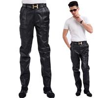 2013 men's genuine leather pants sheepskin patchwork male trousers male leather pants trousers slim trousers