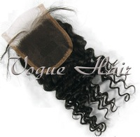 Brazilian Virgin Hair Lace Closure Curly Cheap Top Closure 4''x4'' With Baby Hair Bleached Knots for women