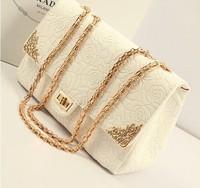 FREE SHIPPING!2014New Fashion Brand Designer women Leather handbags Rose embossing Women's shoulder bag chain bags messenger bag